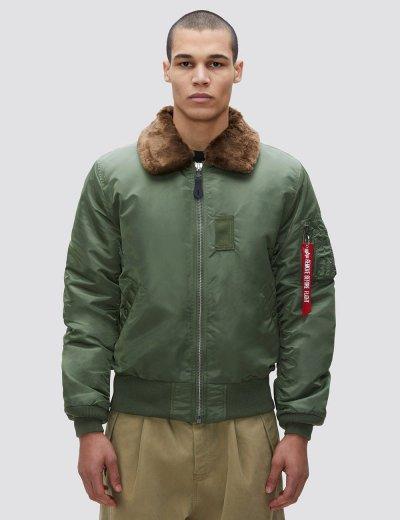 B-15 SLIM FIT BOMBER JACKET / Sage / Brown Fur