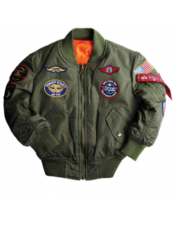 YOUTH MA-1 JACKET WITH PATCHES / Sage green