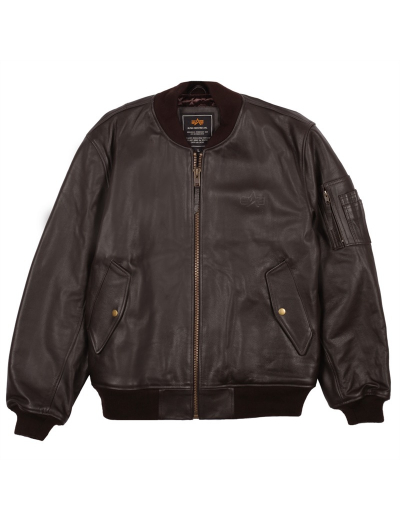 MA-1 LEATHER BOMBER JACKET / Brown