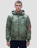Куртка бомбер MA-1 HOODED RIB BOMBER JACKET / Sage