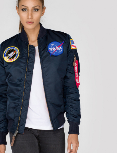NASA MA-1 BOMBER JACKET W / Replica blue