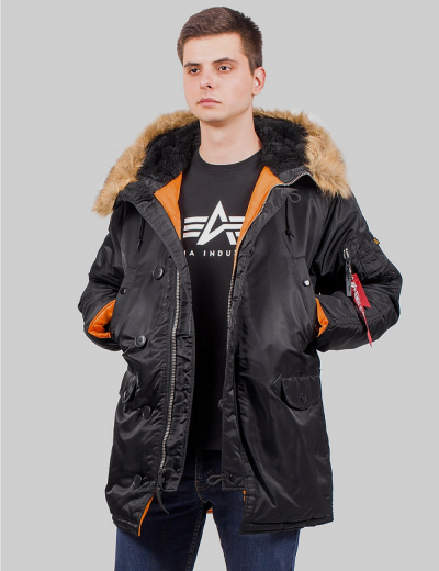 N-3B SLIM FIT PARKA / Black / Brown Fur